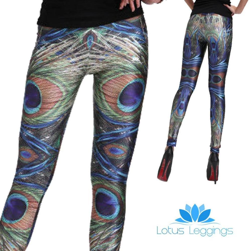 Polyester Fashion Style Sportswear Outdoor Breathable Leggings Peacock Feather Pattern Digital Printing Leggings Gifts For Women