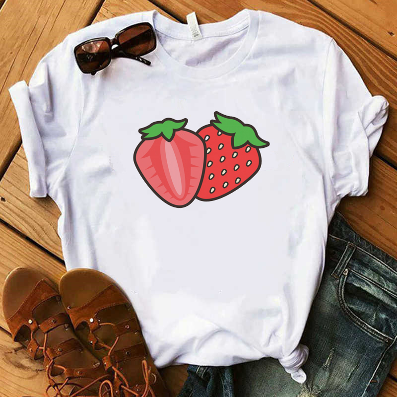 FIXSYS New Kawaii Strawberry Fruits Clothing T-shirt Fashion Women Casual Tee Top Graphic T Shirt Female Camisas Mujer Clothes