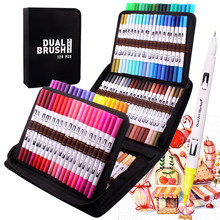 Manga Fine and Brush Dual Tips Colouring Pens, 120 Watercolor Pens, Brush Fineliner Felt Tip Pens Art Markers for Calligraphy