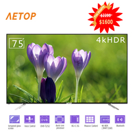 Free shipping tempered glass flat screen telesion Ultra HD android TV 75 inch led smart tv with bluetooth