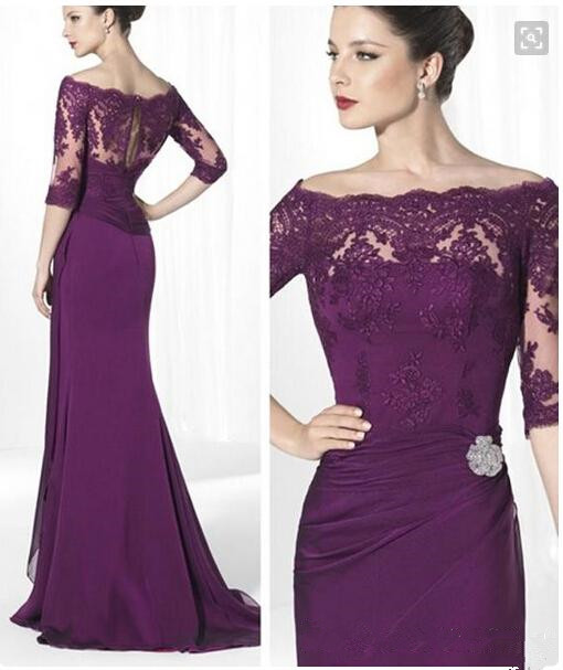 Formal Purple Lace Mother Of Bride Dresses With Sleeves Off The SHoulder Elegant Lady Sheath Long CHiffon Custom Made Prom Gowns