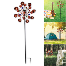 Solar Wind Spinners Outdoor Metal Yard Spinner Double Spiral Solar Spinner  Garden Yard Lawn Decorations with Direction