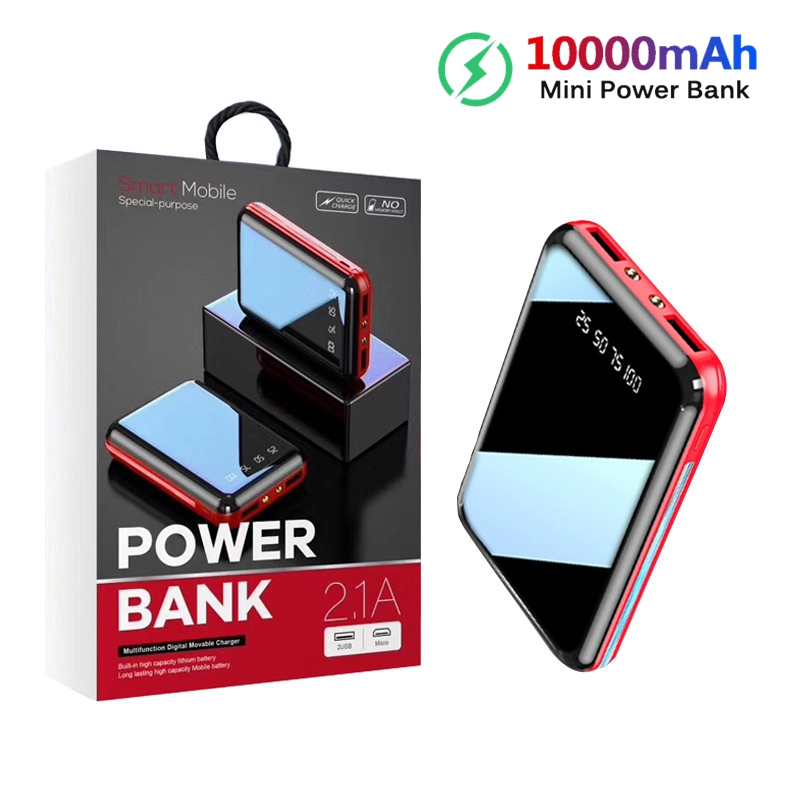 10000mAh Mini Power Bank For Xiaomi Phone <font><b>10000</b></font> mah Portable Charger LED Mirror Back Power Bank External Battery Pack Powerbank image