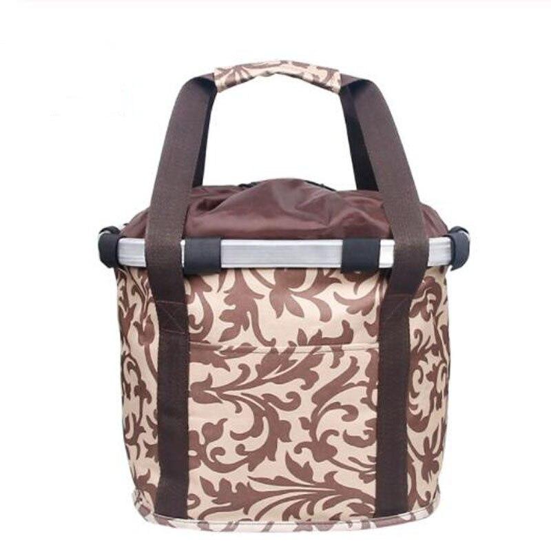 Велосипедная корзина, корзина для руля велосипеда, велосипедный держатель, сумка для езды на велосипеде, велосипедная Передняя багажная сумка, нагрузка 3,0 КГ - Цвет: Coffee