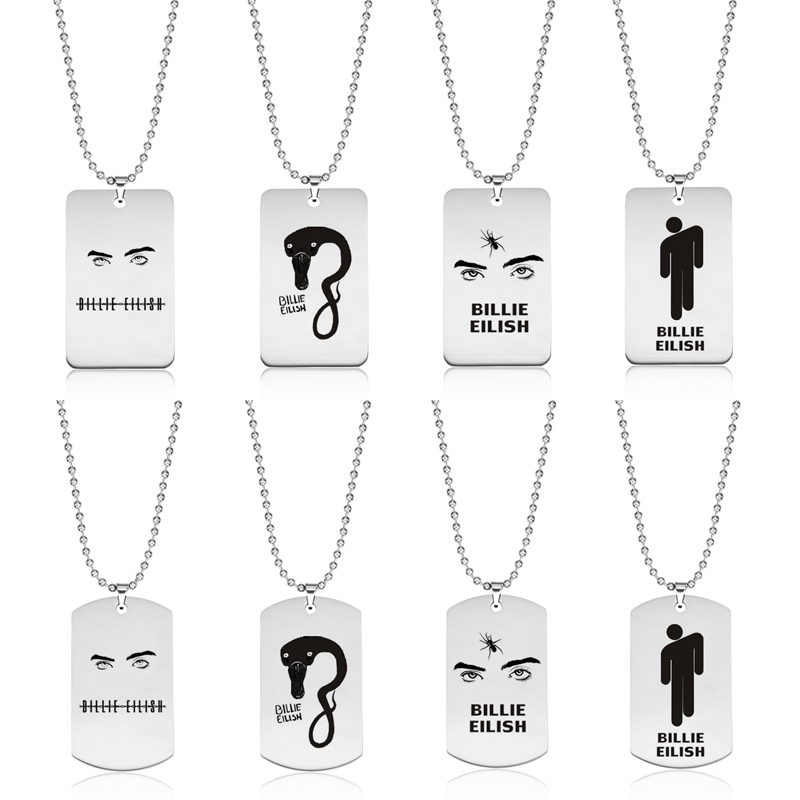 2020 New Billie Eilish Stainless Steel Pendant Necklace Round Strand Chain Square Pendant Necklace <font><b>Fans</b></font> <font><b>Jewelry</b></font> Accessories Gift image