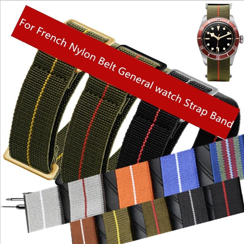 2019 novas tropas francesas pára-quedas saco para a otan cinto de náilon elástico geral marcas 20 21 22mm wacthband pulseira relógio