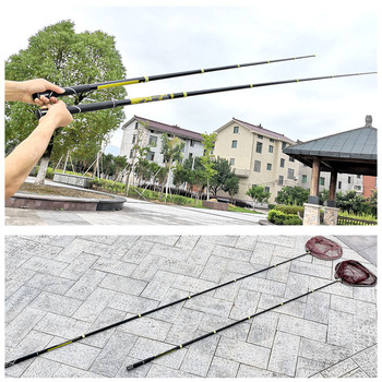 Fly Fishing Net ultralight carbon Pole Nets Triangular Landing Net Retractable Pole Folding Fishing Telescoping Net