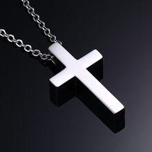Modyle clássico em branco cruz colares oração cristo masculino jóias de aço inoxidável