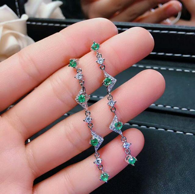 MeiBaPJ Natural Columbia Emerald Green Gemstone Long Drop Earrings Real 925 Silver Earrings Fine Charm Jewelry for Women