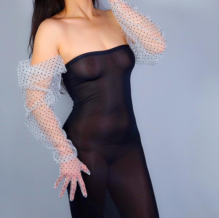 Women's Sexy Transparent Dot Print Wide Sleeve Long White Mesh Glove Female Summer Sunscreen Club Party Dancing Glove R2517
