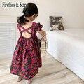 Summer Girls Dress Baby Vestidos Kids Long Dress Children Clothes Fashion Floral Print Backless Crop Bandage 2 To 6 Yrs