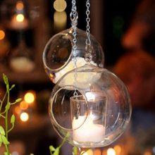 6/8/10/12cm pendurado castiçal de vidro-cristal pequeno tealight castiçal titular romântico festa de casamento decoração do castiçal