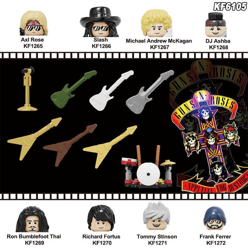 Bouwstenen Rock Band Guns N 'Roses Axl Rose Dj Ashba Tommy Stinson Frank Ferrer Moc Bricks Cijfers Leren Kinderen speelgoed KF6105