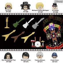 Строительные блоки Rock Band Пистолеты N' Roses Axl Роза DJ ашба Tommy Стинсон Frank Феррер кубики moc фигурки Обучающие Дети игрушки KF6105