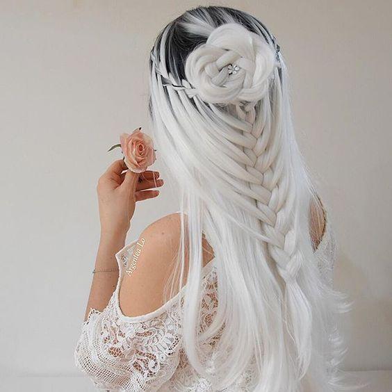 Azqueen longa reta ombre perucas de cabelo