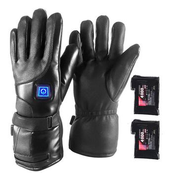 Elektryczny ciepły do ogrzewania rękawiczek 4000mA zasilany z baterii ciepła rękawice zimowe Sport do ogrzewania rękawiczek do wspinaczki narciarstwo mężczyźni kobiety rękawiczki tanie i dobre opinie CN (pochodzenie) Cycling golves bawełna skóra PU Electric heated gloves Outdoor Camping Hiking Motorcycle Leather+heat-preserving cotton