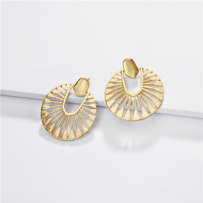 Hollow Round Frame Earrings For Women Fashion Jewelry Silver Gold Alloy Metal Earrings Statement Earrings