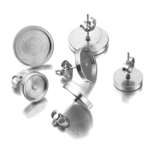 Stainless Steel Blank Earring Base Cabochon Cameo Base 6 8 6 8 10 12mm Flat Earring Setting Diy Jewelry Making ,with Ear plug