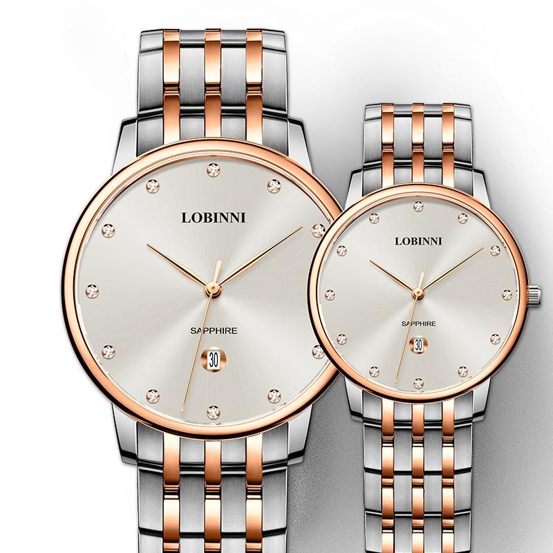 LOBINNI Top Brand Man Woman Gift Watch Lovers Waterproof Watches Couples Sapphire Japan Quartz Movement Stainless Wristwatch