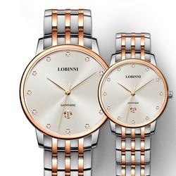 LOBINNI Top Marke Mann Frau Geschenk Uhr Liebhaber Wasserdichte Uhren Paare Sapphire Japan Quarz Bewegung Edelstahl Armbanduhr