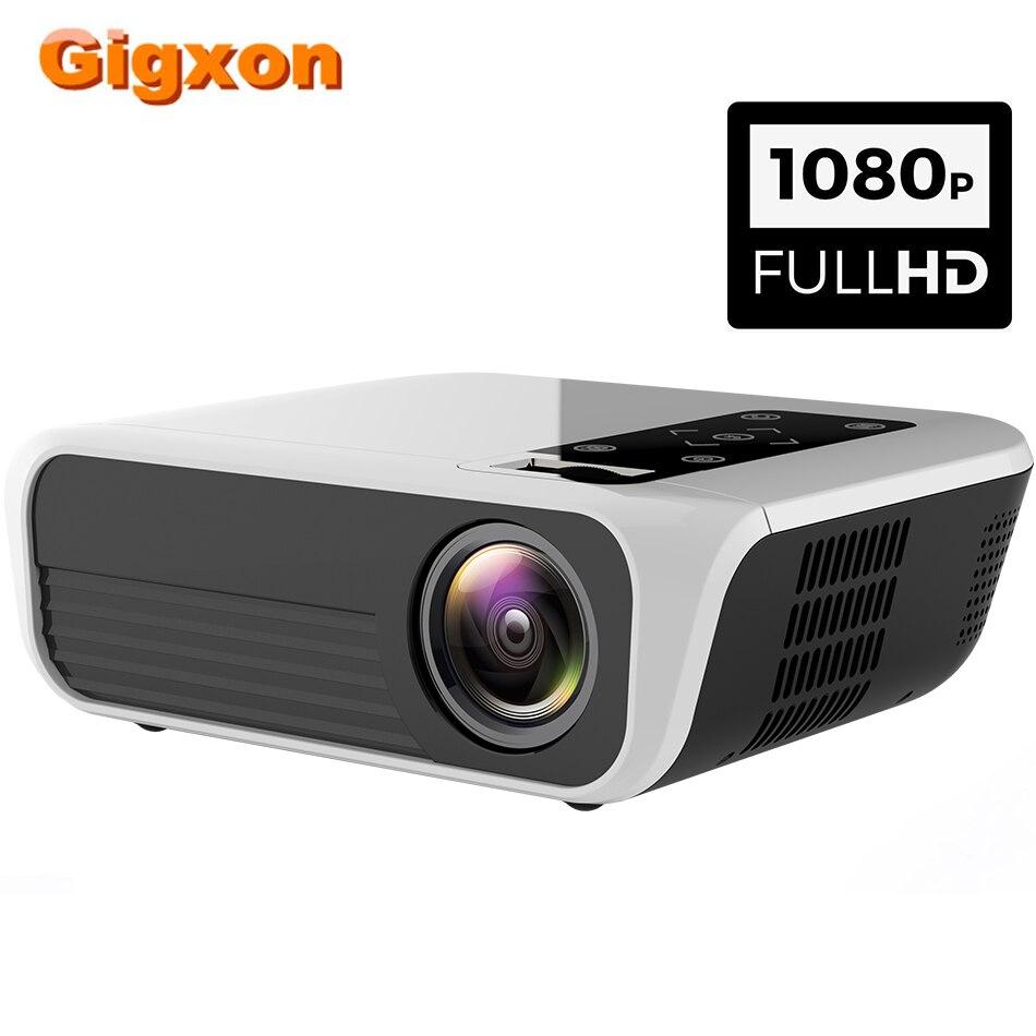 Gigxon T8 natif 1920x1080 FHD projecteur haut-parleur Support 4K vidéos HDMI USB Home cinéma film vidéo projecteur pour TV BOX
