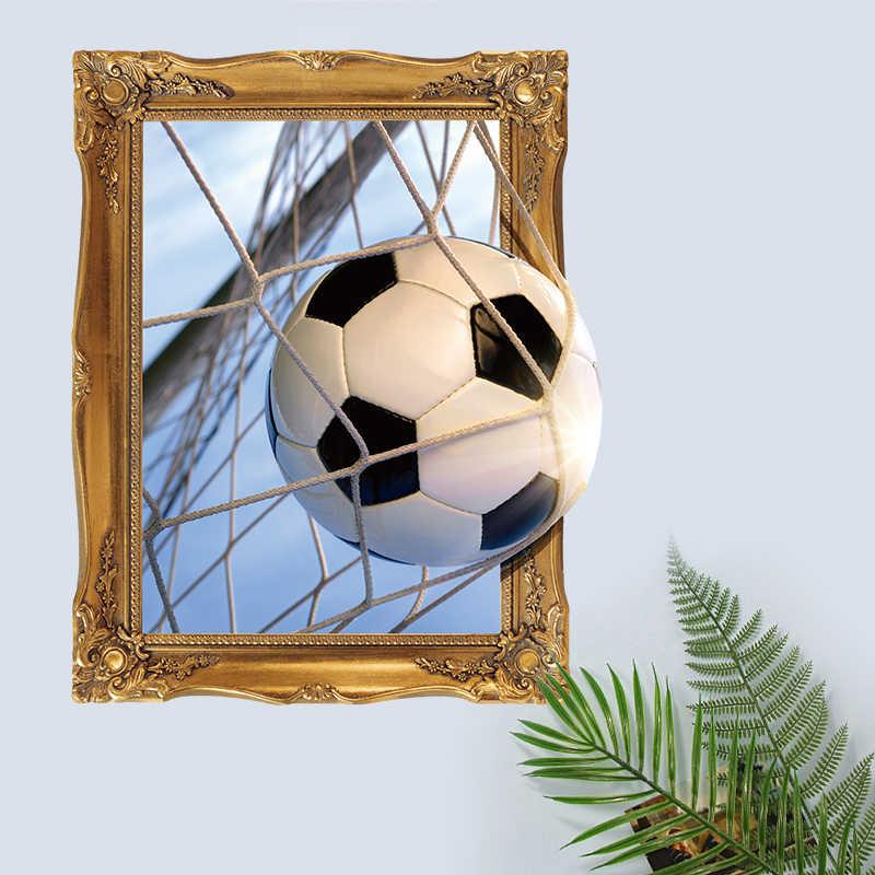 ثلاثية الأبعاد ستيريو للإزالة كرة القدم كرة القدم ملصقات جدار الفن ملصق مائي غرفة المعيشة غرفة نوم صور مطبوعة للحوائط غرفة المنزل لاصقة تزيين