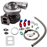 GT45 Turbo T4 V Band 1.05 A/R 98mm Huge 600+HPS Universal Turbocharger +Oil Feed & Return Lines External Wastegate