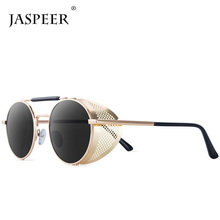 JASPEER Retro Round Steampunk Sunglasses Men Women Side Shield Goggles Metal Frame Gothic Mirror Lens Sun Glasses