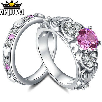 2/pc Romantic Heart Shape Crystal Engagement Wedding Ring for Women Pink/Red Gems Sets Ring for Anniversary Party Jewelry Gifts