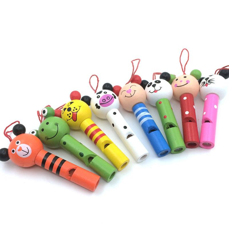 5pc Funny Wooden Toys Cartoon Animal Whistle Key Hanger Early Education Music Instrument Toy for Baby Children Gift Random Color