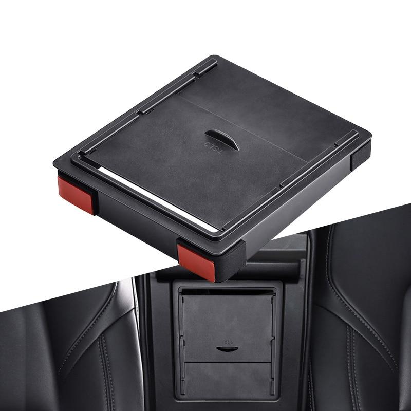 Storger para Tesla Model 3 2017 2018 2019 caja de almacenamiento Reposabrazos de coche organizador contenedores transparente oculto soporte caja reemplazo