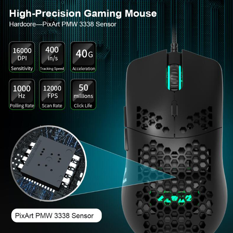 Ajazz AJ390 Honeycomb Hollow Design Gaming Mouse Color LED Light 16000DPI 7 Keys 69g Lightweight Matte Material Wired Game Mouse image