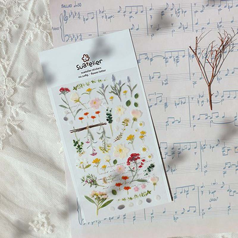 Korean Flower Letter Bullet Journal Stickers Adhesive Stickers Home Decoration Diary Stationery PVC Stickers Mobile Phone Sticke