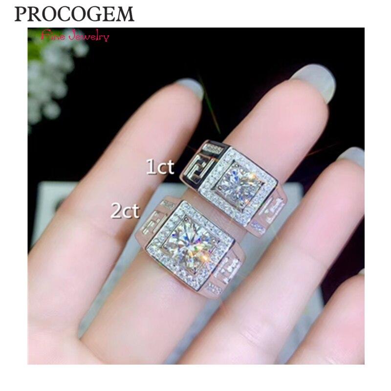 PROCOGEM Moissanite hommes anneaux 0.5ct1ct 2ct VVS excellente brillance anneaux de fiançailles 925 argent Sterling bijoux fins #682