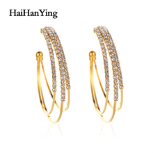Exaggerated Design Multilayer C-shaped Earrings Beautiful Baroque Women Simple Luxury Charm Jewelry Fashion Statement
