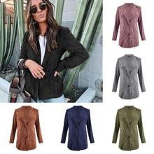 Pink Vintage Autumn Corduroy Jacket Woman Solid Color Long Sleeve Jaket Women Pl