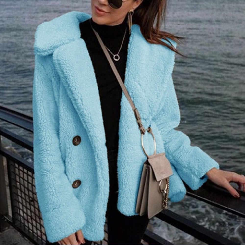פו פרווה מעיל נשים סתיו חורף פלאפי טדי מעיל מעיל בתוספת גודל ארוך שרוול הלבשה עליונה תורו למטה קצר מעיל נשי dropship