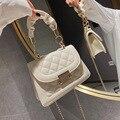 Женская сумка, модная сумка-тоут, прошитая сумка через плечо с ромбовидным узором, бежевая кожаная Роскошная брендовая трендовая Сумка-клат...