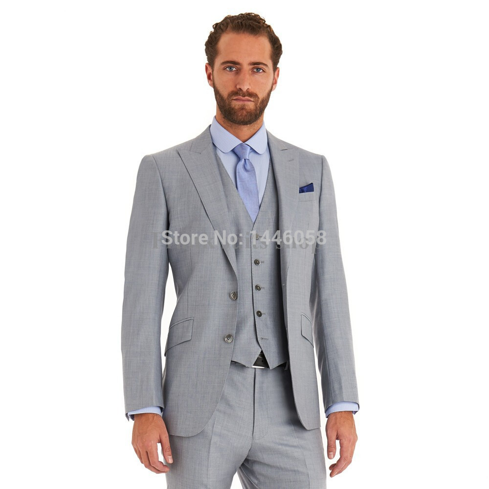 2016 New Fashion Light Grey Men's Tuxedo Groom Wedding Suits Two Buttons Men's Formal Business Suit Custom Made 3 Pieces