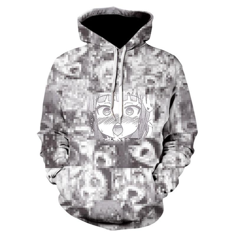 3D Ahegao Hoodies Sweatshirts Hooded Men Women Shy Girl Face Sweatshirt Anime Streetwear Harajuku Oversized Zip Up Jackets Tops