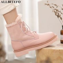ALLBITEFO high quality genuine leather+True hair winter snow women boots thick heel ankle boots for women brand leather boots