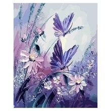 DIY масляная краска ing paint By Number Kit-бабочка с фиолетовым цветком 16x20 дюймов(бескаркасная