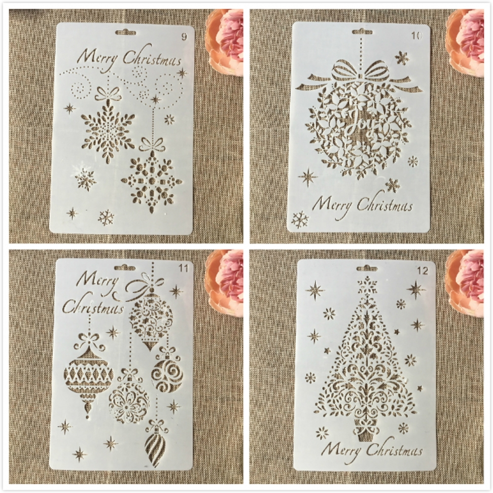 4Pcs/Lot 26cm Christmas Pine Tree Jingle Bell DIY Layering Stencils Painting Scrapbooking Stamping Embossing Decorative Template