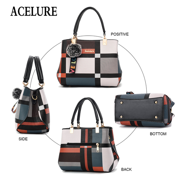 ACELURE New Casual Plaid Shoulder Bag Fashion Stitching Wild Messenger Brand Female Totes Crossbody Bags Women Leather Handbags 4