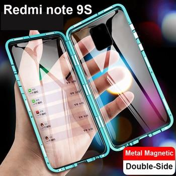 Per Xiaomi Redmi Nota 9s 9 Pro Max Cassa Del Telefono A Due Lati di Vetro 360 Della Copertura Completa di Adsorbimento Magnetico In Metallo telaio corpo