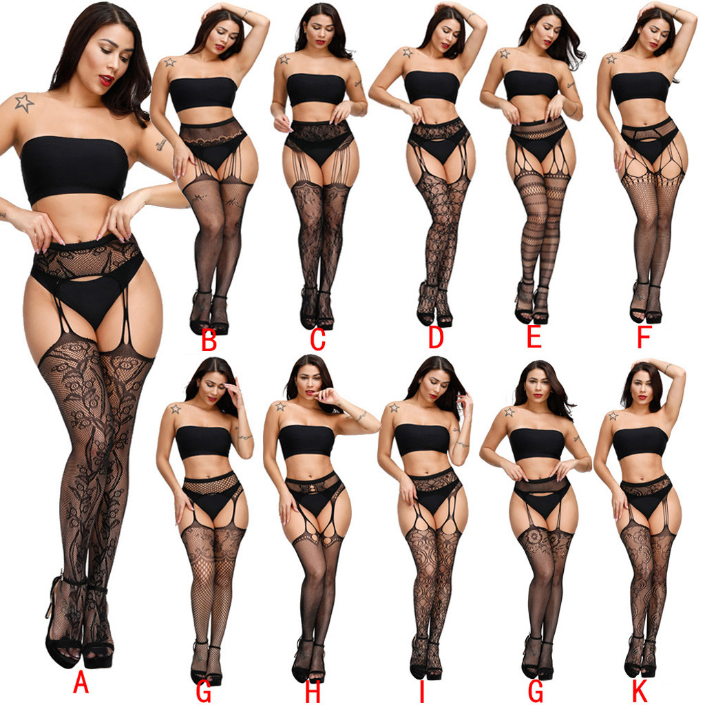 Women Sexy Lingerie Hot Fishnet Stockings Garter Belt Lace Tights Sexy Underwear Transparent Mesh Embroidery Pantyhose Babydolls