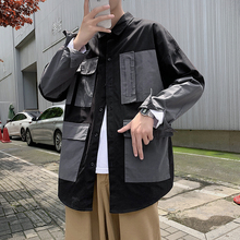 Men Clothing Shirt Long-Sleeve Male Casual New Multi-Pocket Autumn Military Color-Block