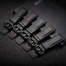 PEIYI 28mm Carbon fibre leather watchband  black with white blue orange red line strap substitute for Sevenfriday leather strap