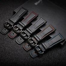 PEIYI 28mm סיבי פחמן עור רצועת השעון שחור עם לבן כחול orange אדום קו רצועת תחליף עבור Sevenfriday עור רצועה