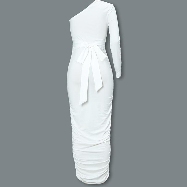 Women Elegant Fashion Sexy White Cocktail Party Slim Fit Dresses One Shoulder Belted Ruched Design Bodycon Midi Dress 4